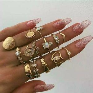 Jewelry - {Faith}Retro Faith 14 pc Ring Set